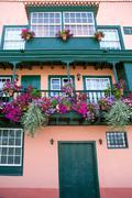 Santa Cruz de La Palma colonial house facades Stock Photos