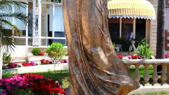 Bronze Statue in Luxury Hotel Inter Continental Carlton, Cannes, France Stock Footage