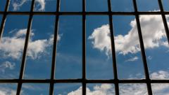 View trough prison window, Time lapse,4k Stock Footage