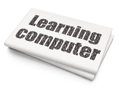 Stock Illustration of Studying concept: Learning Computer on Blank Newspaper background