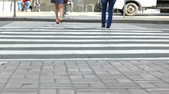 Crosswalk on  road Feet of woman in skirt.  Real shot at 100 FPS Stock Footage