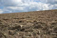 the plowed field - stock photo