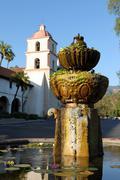 Santa Barbara Mission Fountain - stock photo