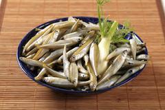 Bowl of fresh anchovies Stock Photos
