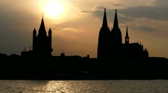 TL Cologne Köln skyline TimeLapse 4K Germany Kölner Dom Cathedral Rhine traffic Stock Footage