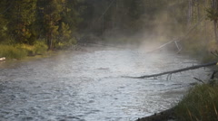 Steam Rising of the Gibbon River in the Morning Stock Footage