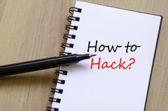 How to hack text concept - stock photo