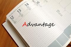 Advantage text concept Stock Photos