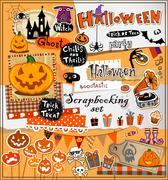 Halloween scrapbook elements - stock illustration