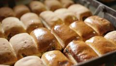 Glazing buns Stock Footage