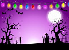 Scary halloween background with cemetery in the dark night Stock Illustration