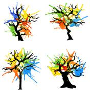 Abstract colorful trees with splashes of color Stock Illustration