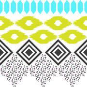 Geometric ethnic border pattern. Ikat rhombus and leopard skin ornament in Stock Illustration