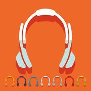 Flat design: headphones - stock illustration