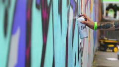 Up fest 2015 Bristol: graffiti painting on the wall, writer, color, spray bottle Stock Footage