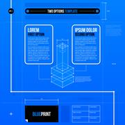Two options layout in blueprint style with abstract isometric object. EPS10 - stock illustration