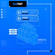Stock Illustration of Two numbered options layout in blueprint style with abstract isometric object