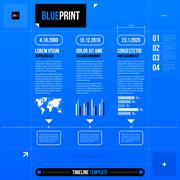 Timeline template with some infographic elements in blueprint style. EPS10 - stock illustration