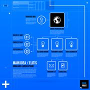 Stock Illustration of Organization chart template in blueprint style. EPS10