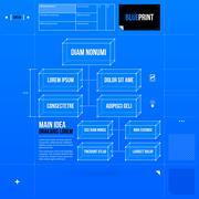 Organization chart template in blueprint style. EPS10 - stock illustration