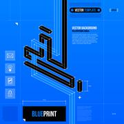 Abstract composition with crossing lines in blueprint style. EPS10 Stock Illustration
