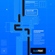 Stock Illustration of Abstract composition with crossing lines in blueprint style. EPS10