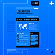 Web site template in blueprint style. EPS10 - stock illustration