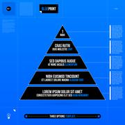Pyramid chart with five levels in blueprint style. EPS10 - stock illustration