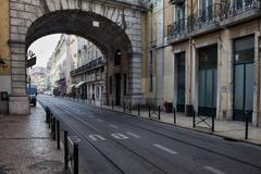 Rua de S. Paulo Street in Lisbon Stock Photos
