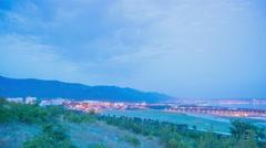 Night city of Gelendzhik, Russia, panoramic time-lapse Stock Footage