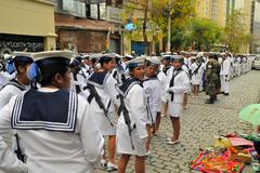 Female Navy Soldiers march in Military parade for dia del mar, La Paz, Bolivia Kuvituskuvat