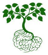 Brain roots tree - stock illustration