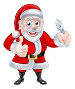 Cartoon Santa Thumbs Up and Holding Wrench Spanner Stock Illustration