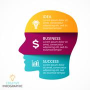 Vector human face infographic. Cycle brainstorming head diagram. Creativity Stock Illustration