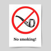 Sketch no smoking sign - stock illustration