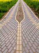 Brick road with green grass Stock Photos