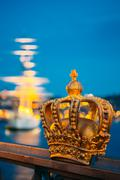 Skeppsholmsbron - Skeppsholm Bridge With Its Famous Gilded Crown - stock photo