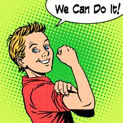 Boy power confidence we can do it - stock illustration
