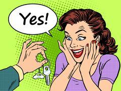 Buying car woman reaction joy keys gift - stock illustration
