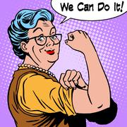 Granny old woman gesture we can do it - stock illustration