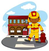 Fire fighter and fire station Piirros