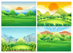 Four scenes of nature at daytime Stock Illustration