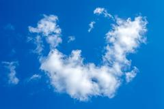 Stock Photo of cumulus clouds on a blue sky background, bad weather