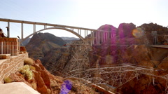 Wide angle shot of Mike O'Callaghan-Pat Tillman Memorial Bridge at Hoover Dam Stock Footage