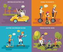 Family with kids active life Stock Illustration