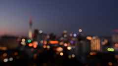 Bokeh blur background of Auckland financial center skyline at night Stock Footage