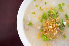 rice gruel with pork - stock photo