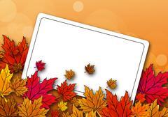 Autumn maple leaves on a postcard Stock Illustration