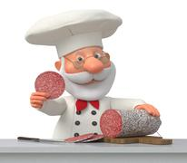 The cook in kitchen with sausage - stock illustration