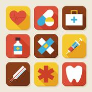 Flat Health and Medicine Squared App Icons Set Stock Illustration